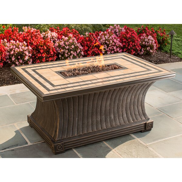 Tuscan Porcelain Top Stainless Steel Propane Gas Fire Pit Table by TK Classics