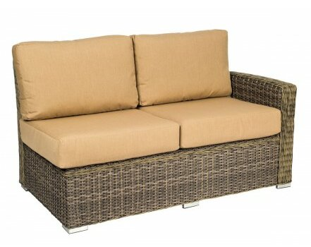 Bay Shore Right Arm Loveseat Sectional Piece with Cushions by Woodard