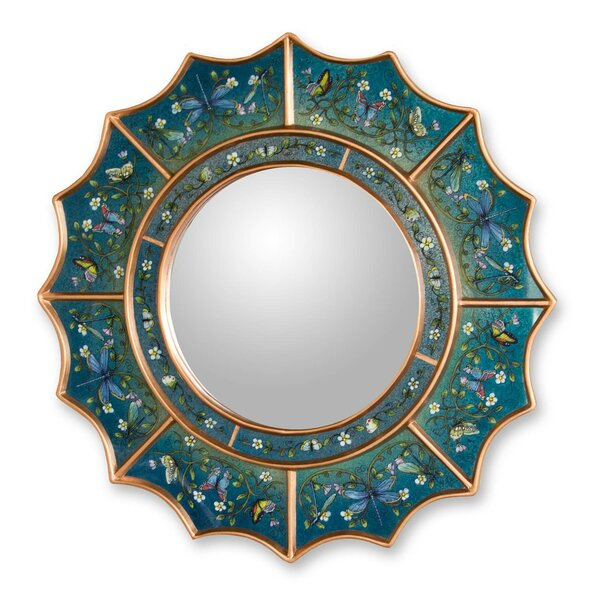 The Gelacio G Reverse Painted Accent Mirror by Novica