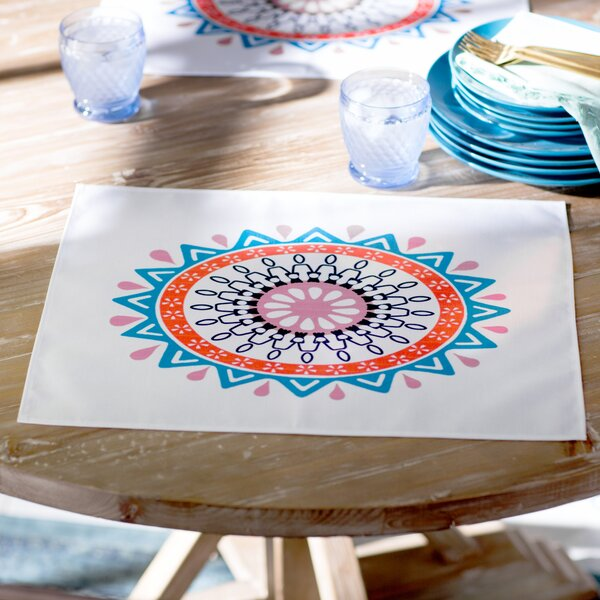 Sabrina Geometric Print Fabric Placemat (Set of 4) by Bungalow Rose