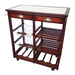 oaken wood kitchen trolley bar cart