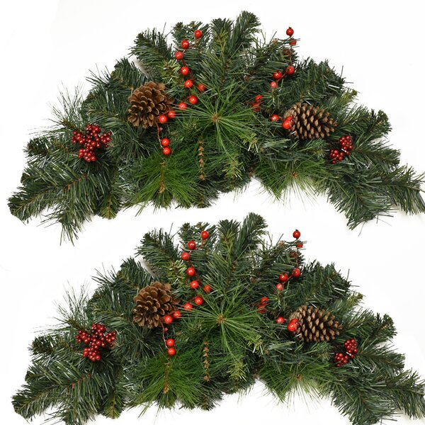 Pine and Berry Christmas Swag (Set of 2) by The Ho