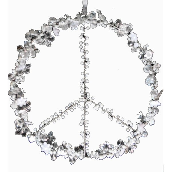 Hand Beaded Peace Sign Ornament by Golden Hill Studio
