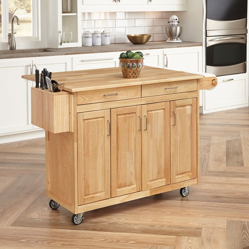 August Grove Epping Kitchen Island With Wood Top Amp Reviews