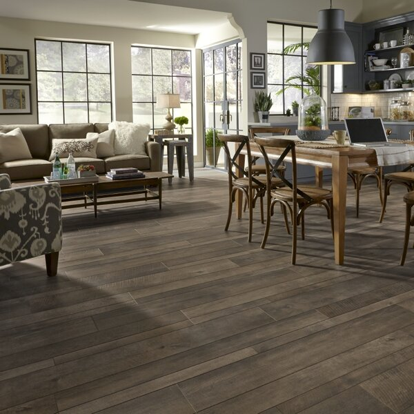Restoration Wide Plank 8'' x 51'' x 12mm Oak Laminate Flooring in Bronze by Mannington