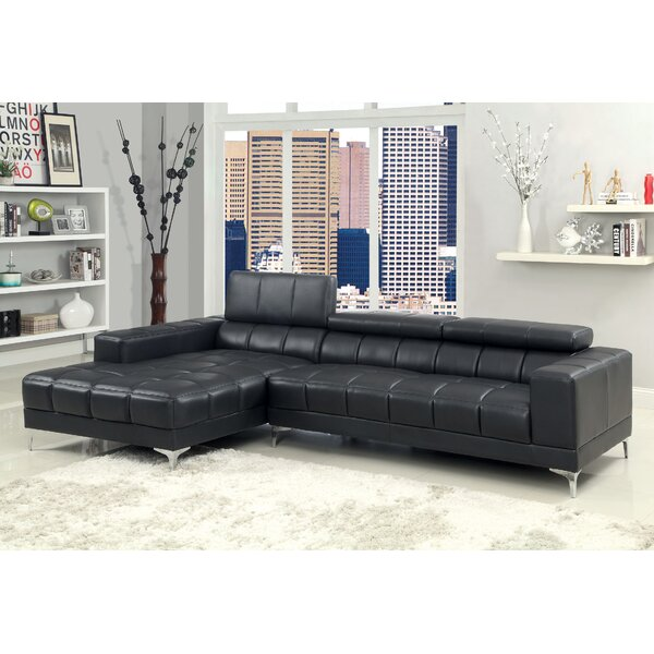 Derrikke Leather Reclining Sectional by Hokku Designs