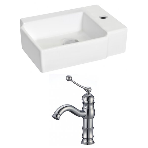 Ceramic 16.25 Wall Mount Bathroom Sink with Faucet by Royal Purple Bath Kitchen
