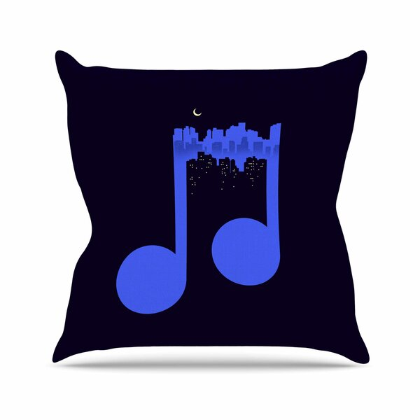 Digital Carbine Night Music Illustration Outdoor Throw Pillow by East Urban Home
