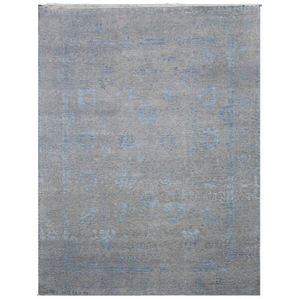 Lexington Hand-Knotted Wool Gray/Blue Area Rug by Exquisite Rugs