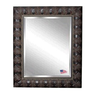World Menagerie Mahogany Wood Feathered Wall Mirror