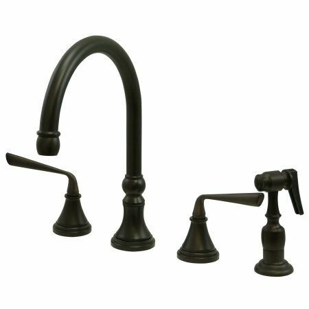 Copenhagen Double Handle Widespread Kitchen Faucet with Brass Sprayer by Elements of Design
