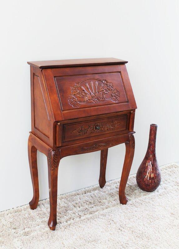 Windsor Hand Carved Wood Secretary Desk