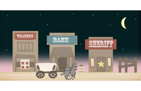Danil Moonlight Over Western Town Stretched Canvas Art by Zoomie Kids