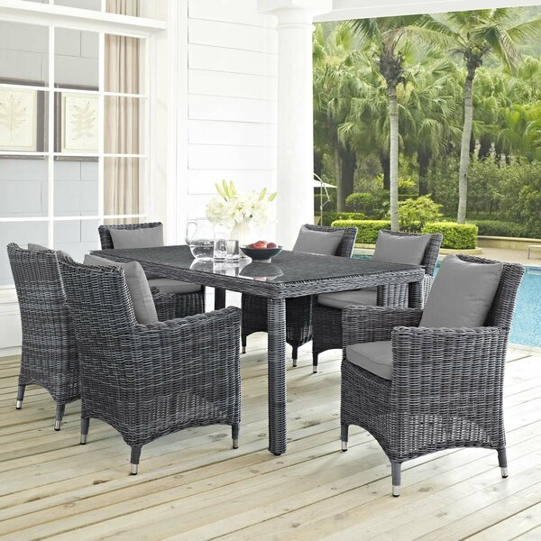 Alaia 7 Piece Rattan Sunbrella Dining Set with Cushions by Brayden Studio