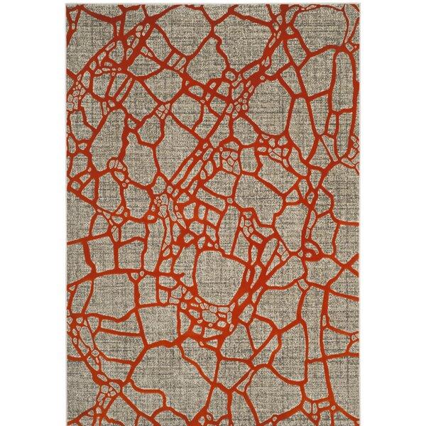 Sevastopol Gray/Orange Area Rug by Wrought Studio