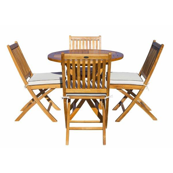 Vickers 5 Piece Teak Dining Set with Sunbrella Cushions Bayou Breeze W001927916