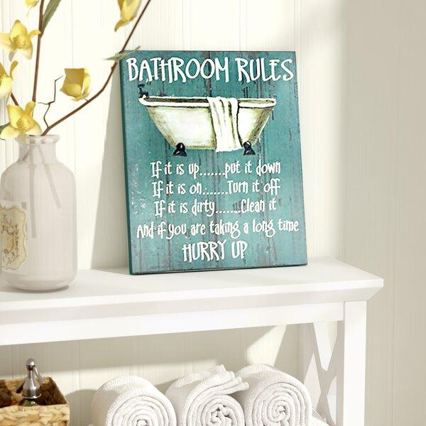 Bathroom Rules Textual Art by August Grove