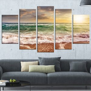 'Sandy Beach Washed by Waves' 5 Piece Wall Art on Wrapped Canvas Set by Design Art