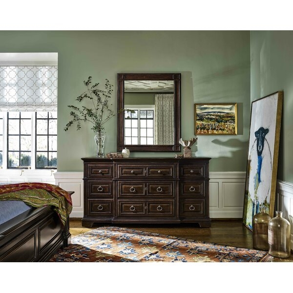 Jefferey 9 Drawer Double Dresser with Mirror by Canora Grey
