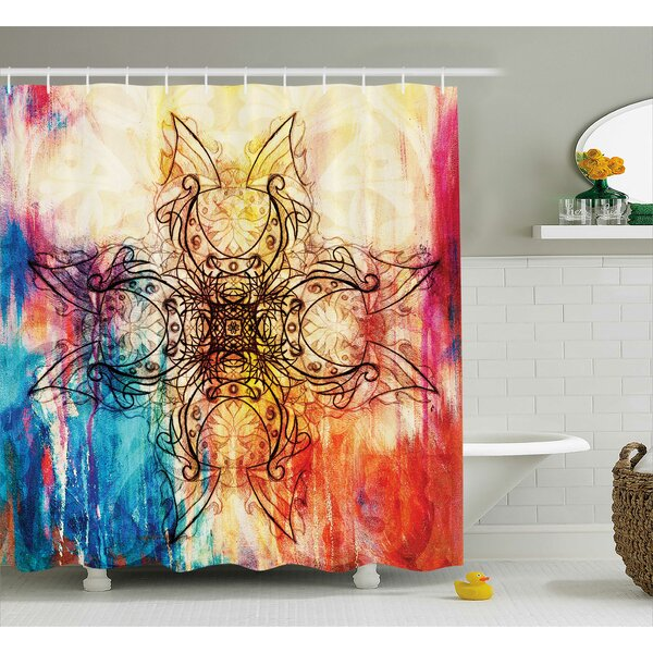 Pacific Ornate Original Mandala Sketch Over Dirty Digital Collage Mystic Feature Pattern Shower Curtain by World Menagerie