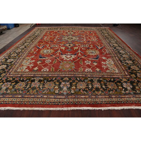 One-of-a-Kind Hand-Knotted 1900s Sultanabad Red/Green 11'11 x 14'6 Wool Area Rug