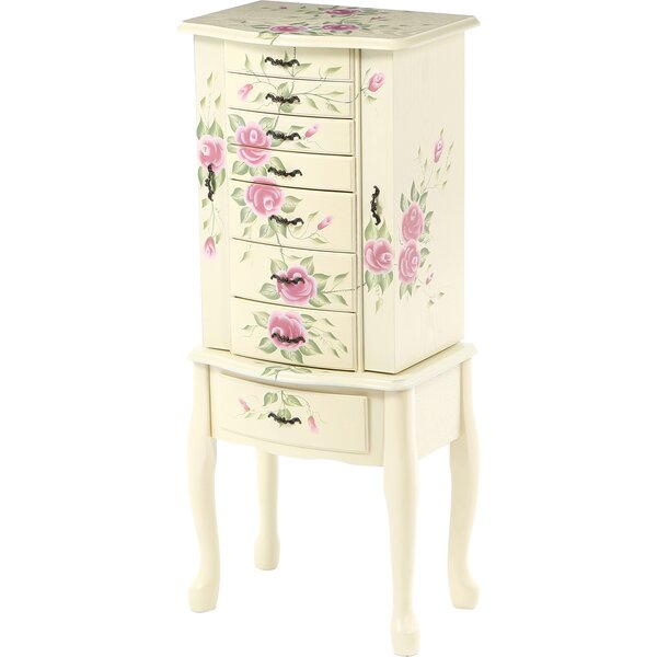 Antonette Floral Jewelry Armoire with Mirror by August Grove