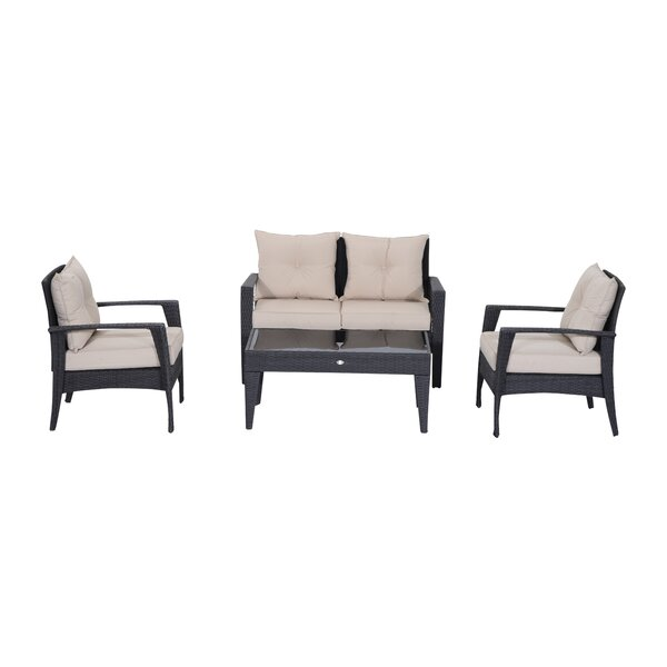 Barkhampstead 4 Piece Outdoor Rattan Wicker Loveseat and Chair Set by Red Barrel Studio