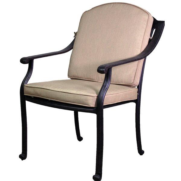 Ross Stacking Patio Dining Chair with Sunbrella Cushion by Fleur De Lis Living Fleur De Lis Living