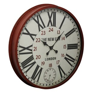 31.4 Red Metal Wall Clock by 17 Stories