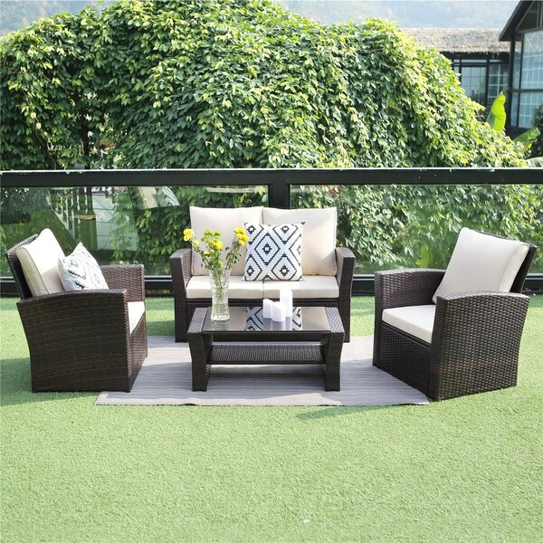 Netherside Patio 5 Piece Rattan Sofa Seating Group with Cushions by Ebern Designs