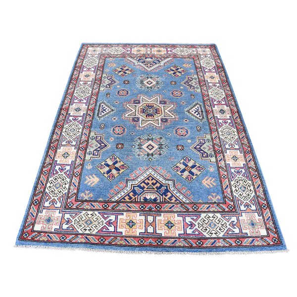 One-of-a-Kind Espada Special Oriental Hand-Knotted Blue Area Rug by Millwood Pines
