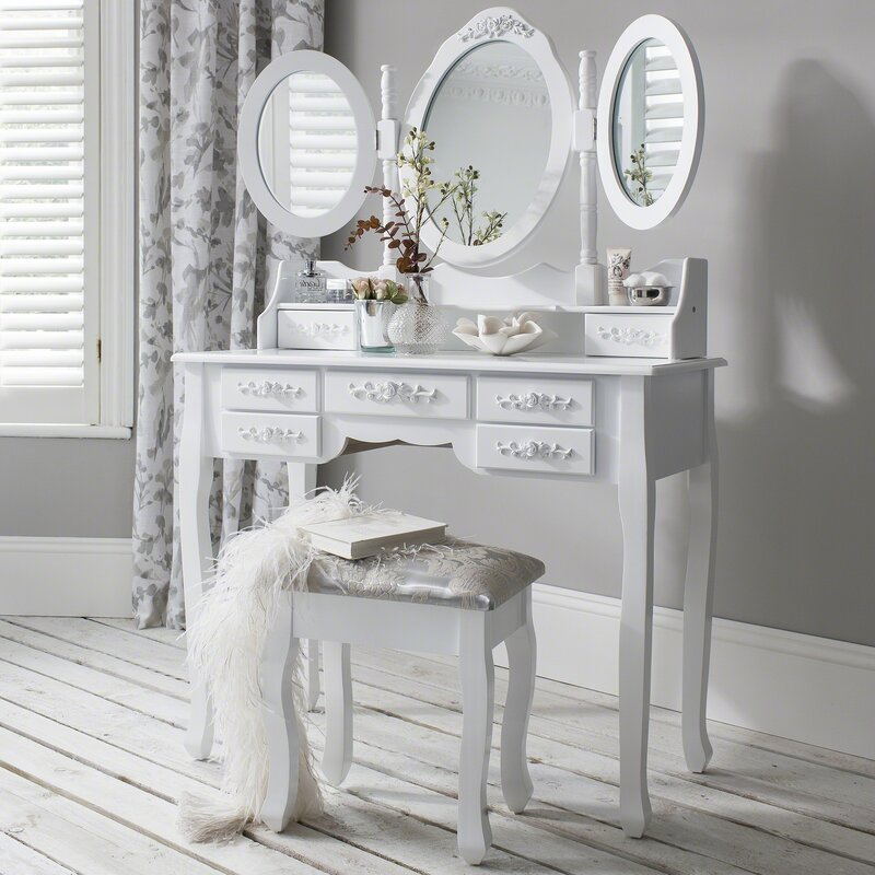 Adrian Dressing Table Set With Mirror by Lily Manor