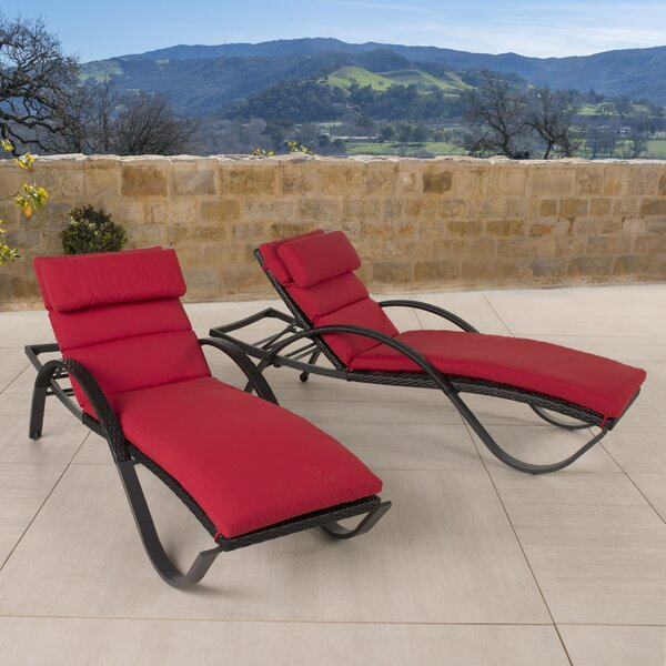 Northridge Chaise Lounge with Cushion (Set of 2) by Three Posts