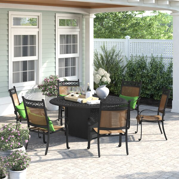 Curacao 7 Piece Dining Set with Firepit