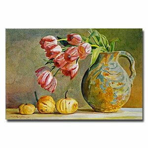 Soft Tulips in the Pottery by David Lloyd Glover Painting Print on Canvas by Trademark Fine Art