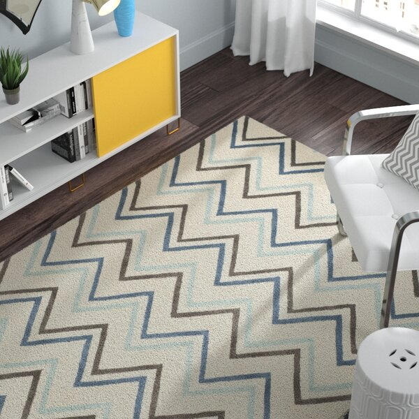 Charlenne Ivory / Blue Chevron Area Rug by Zipcode Design