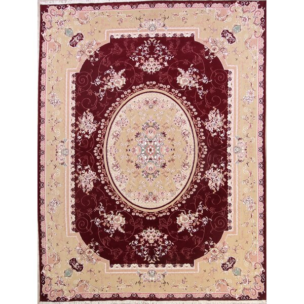 Panella Soft Plush Floral Tabriz Persian Traditional Burgundy/Beige Area Rug by Isabelline