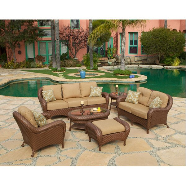 Soria 6 Piece Rattan Sunbrella Seating Group with Cushions by Art Frame Direct