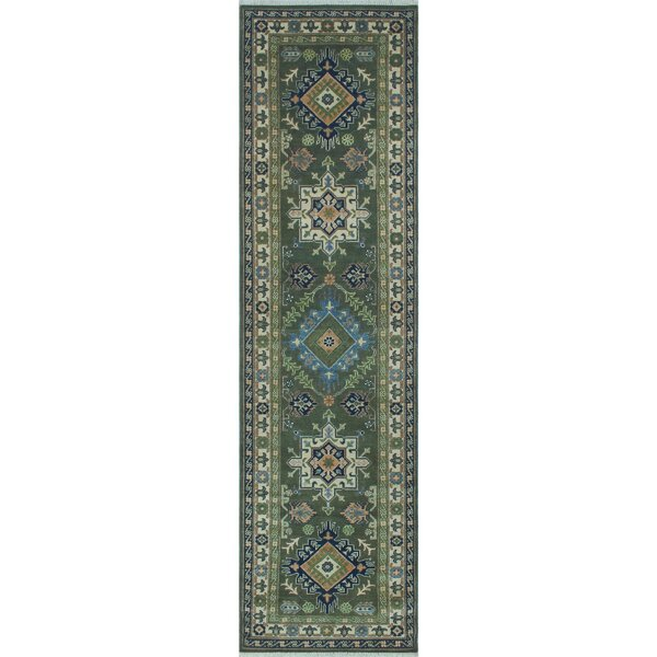 Saigo Hand Knotted Wool Green Area Rug by Loon Peak