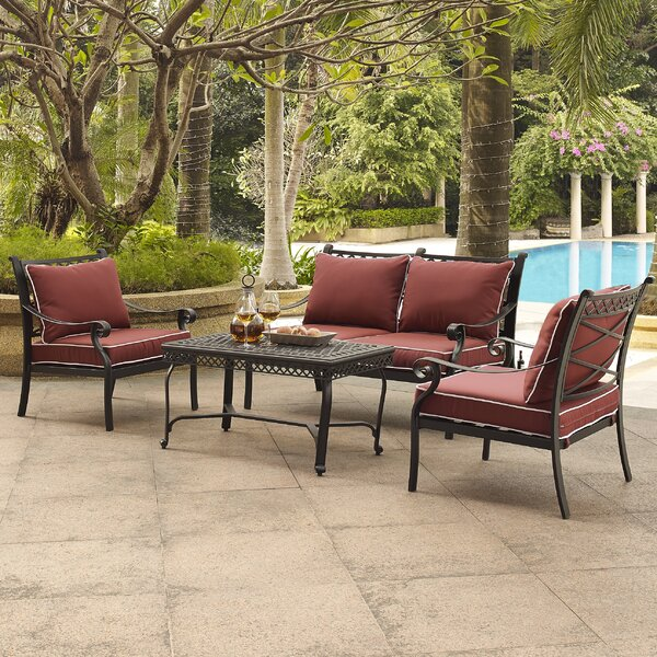 Nadine 4 Piece Sofa Set with Cushions by Fleur De Lis Living