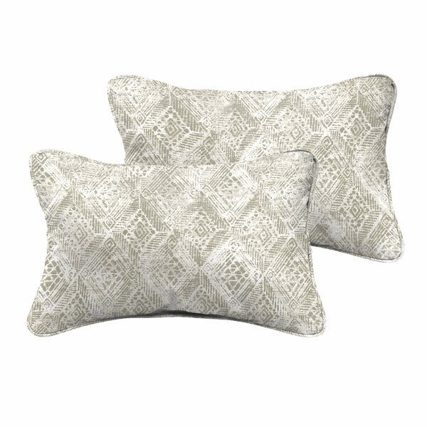 Caterina Indoor/Outdoor Corded Edging Lumbar Pillow (Set of 2) by World Menagerie
