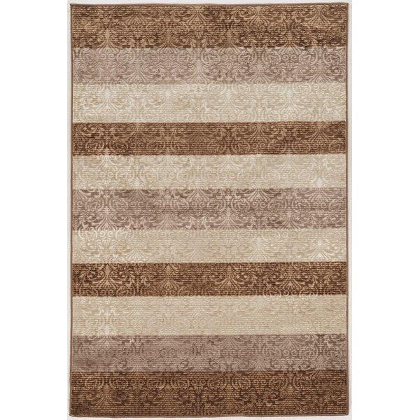 Madalyn Damask Stripes Brown/Beige Area Rug by Winston Porter
