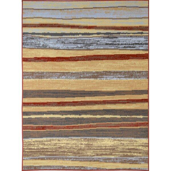 Moya Striped Red/Beige Area Rug by Ebern Designs