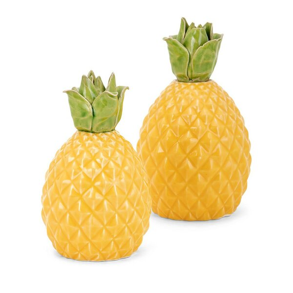 Westbury Ceramic Pineapple 2 Piece Sculpture Set by Bay Isle Home