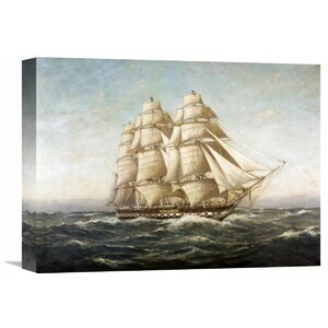 'U.S.S. Constitution' by Myron Clark Painting Print on Wrapped Canvas by Global Gallery