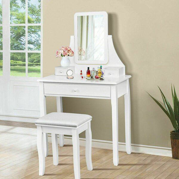 Hadlow Vanity Set with Stool and Mirror by Charlton Home Charlton Home