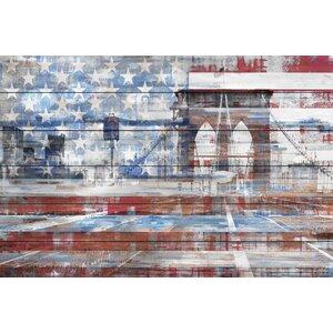 'Patriotic Overlay' by Parvez Taj Painting Print on White Wood by Parvez Taj