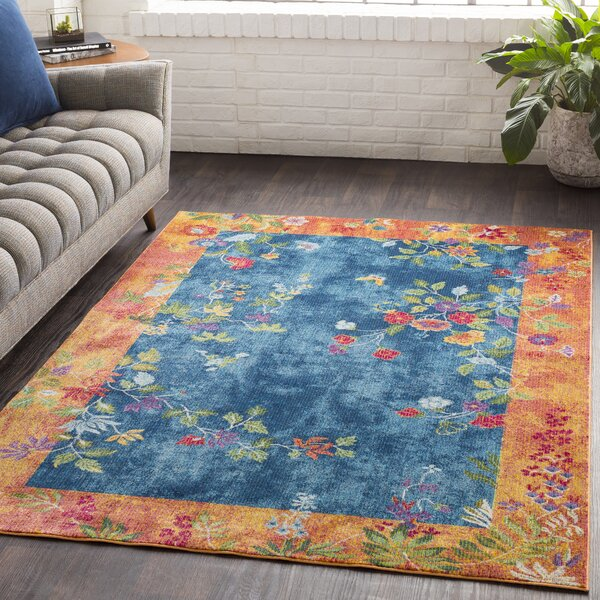 Lillo Vibrant Floral Blue/Burnt Area Rug by Bungalow Rose
