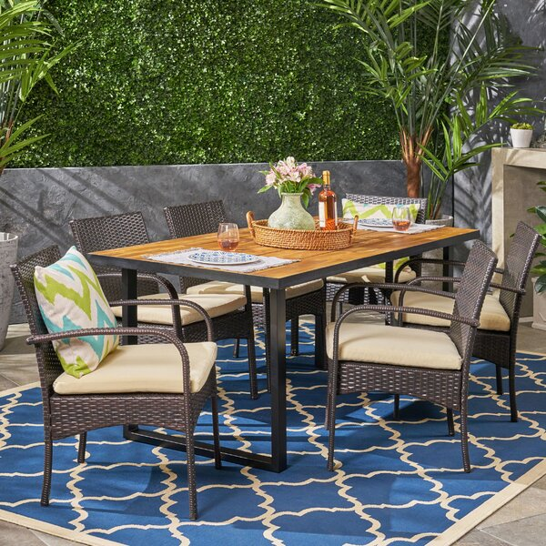 Jessie 7 Piece Teak Dining Set with Cushions by Bay Isle Home