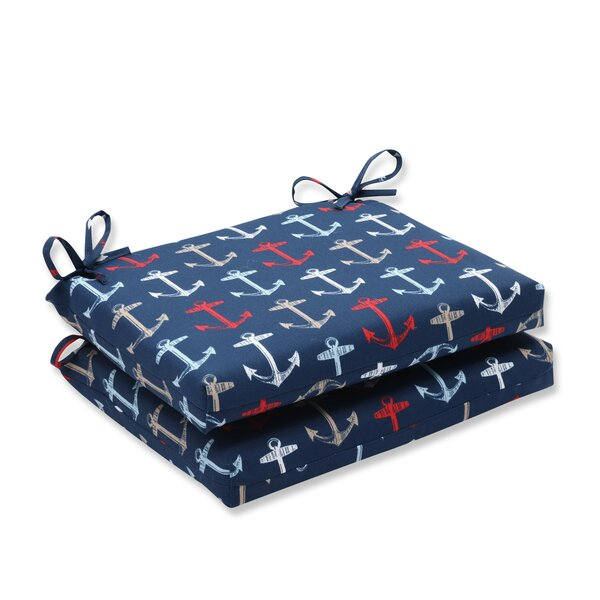Anchor Allover Indoor/Outdoor Dining Chair Cushion (Set of 2) by Pillow Perfect
